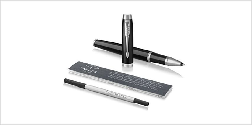 Save on PARKER IM Rollerball Pen, Black Lacquer Chrome Trim with Fine Point Black Ink Refill, Blister Pack (1975540) and more from Amazon