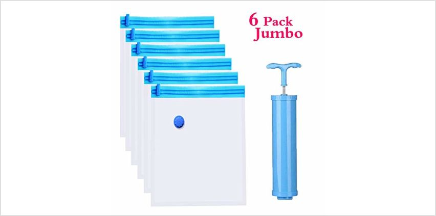 Cevadama Vacuum Storage Bags 6 Pack (Medium, Large, Jumbo) Save 80% More Space Reusable Saver Bags for Clothes,Comforters,Travel Hand Pump Included from Amazon
