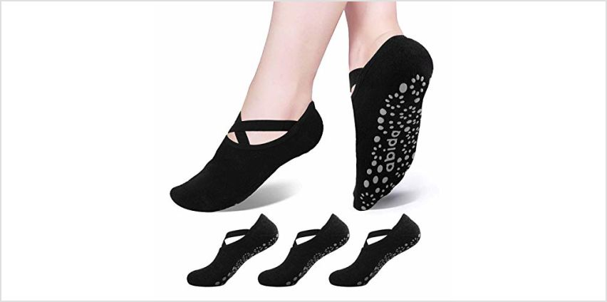 Abida 3/5 Pairs Women Yoga Socks with Non-Slip Grips & Straps, Ideal for Pilates, Pure Barre, Ballet, Dance, Fitness from Amazon