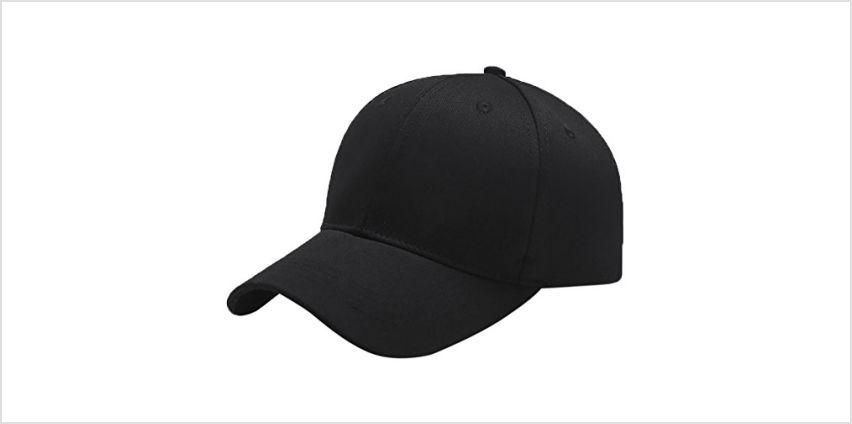 Yidarton Baseball Cap Polo Style Classic Sports Casual Plain Sun Hat(Black) from Amazon
