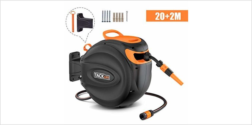 TACKLIFE Auto Hose Reel 20+2m, Wall-Mounted Hose Reel with Wall Bracket and Spray Nozzle, Any Length Lock and Easy Rewind - GHR1A from Amazon