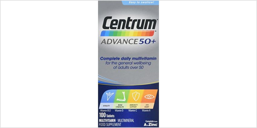 Save on Centrum Advance 50 Plus Multivitamin Tablets, Pack of 100 and more from Amazon