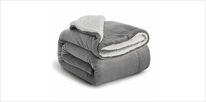 Bedsure Fuzzy Textured Reversible Sherpa Throw Blanket from Amazon