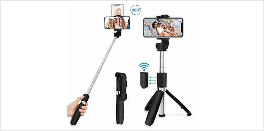 SYOSIN Selfie Stick Tripod, Extendable Bluetooth Selfie Stick with Detachable Wireless Remote, 3 in 1 Multifunctional Selfie Stick and Phone Tripod Stand-Compatible with iPhone/Samsung/Huawei and More from Amazon
