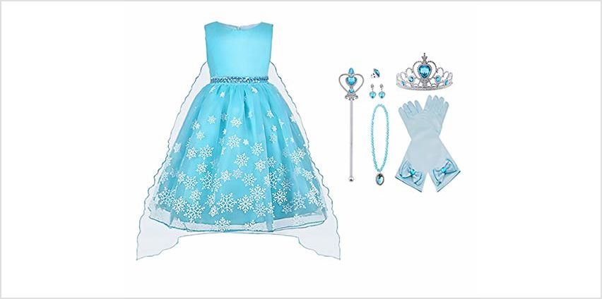 Vicloon Ice Queen Elsa Princess Costume,Elsa Anna Fine Lace Snowflake Dress with Fairy Crown Wand Gloves and Tiara for Christening/Wedding/Party/Pageant/Bridesmaid Princess Kids Dress Ball Gown from Amazon