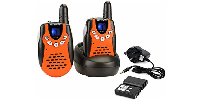 Retevis RT602 Kids Walkie Talkies Rechargeable PMR446 8 Channels Flashlight VOX Children Walkie Talkies with Li-ion Batteries and Charger (Orange,1 Pair) from Amazon