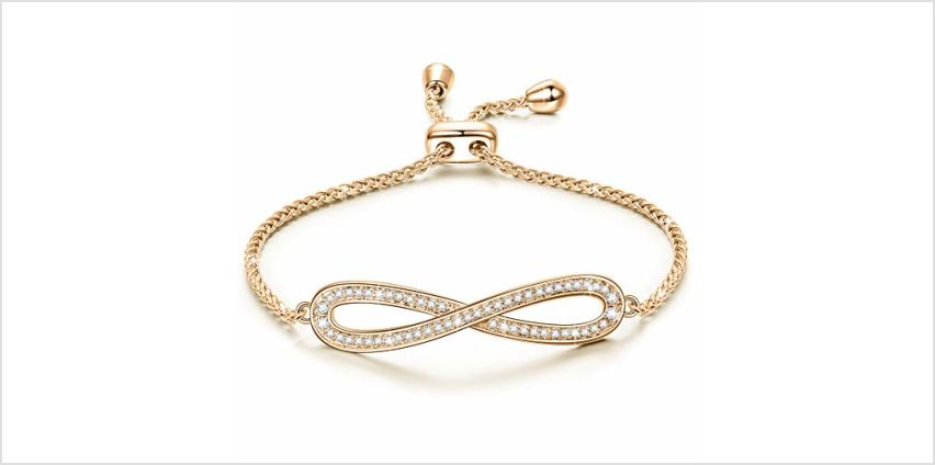 Susan Y Valentines Gifts for Her, Endless Love Women Infinite Bracelet, Rose Gold Plated, Crystal from Swarovski, Adjustable Chain, Best Gift for Women Girls from Amazon