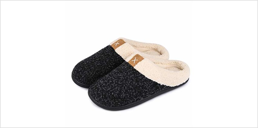 Men's Comfort Memory Foam Slippers Wool-Like Plush Fleece Lined House Shoes w/Indoor, Outdoor Anti-Skid Rubber Sole from Amazon