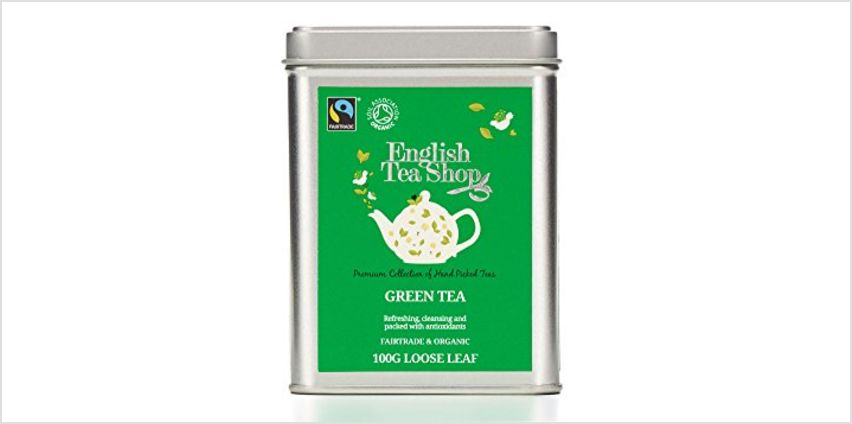 Save on English Tea Shop Organic Fairtrade Green Tea - 100g Loose leaf tea in a Tin and more from Amazon