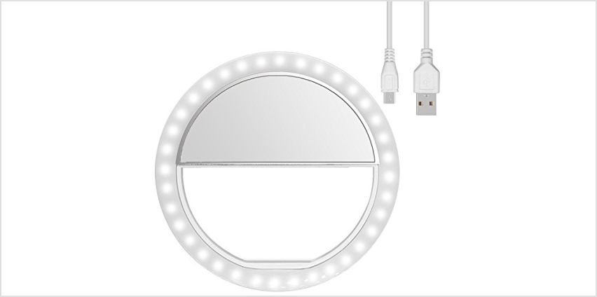 Diyife Ring Light, [Newest Version] Rechargeable Selfie Ring Light, 3-Level Brightness Adjustment Clip On 36 Highlight LED for Webcast and Applying Make Up for Any Cellphone Smartphone from Amazon