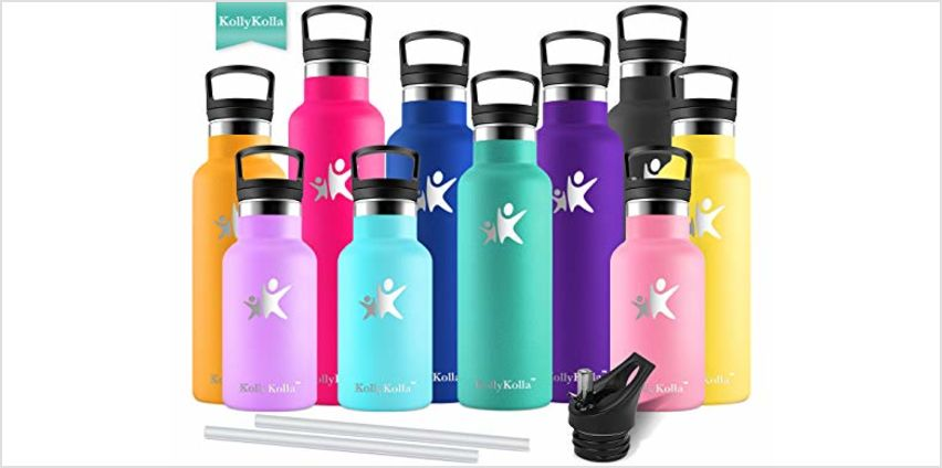 KollyKollaInsulatedWaterBottle, StainlessSteel Vacuum DrinksBottles - 350/500/600/750ml/1L - Leakproof Hot/ColdMetal Flask with 2 Straws & Lids, Bpa Free forKids, Sports,Gym,Running from Amazon
