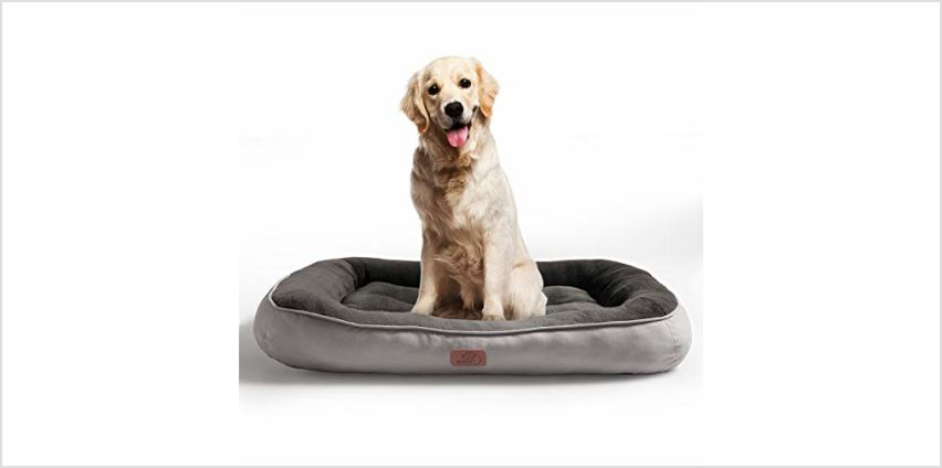 Bedsure Plush Dog Bed S/M/L/XL- Soft Machine Washable Pet Bolster Bed for Large Dogs Up to 45 KG from Amazon