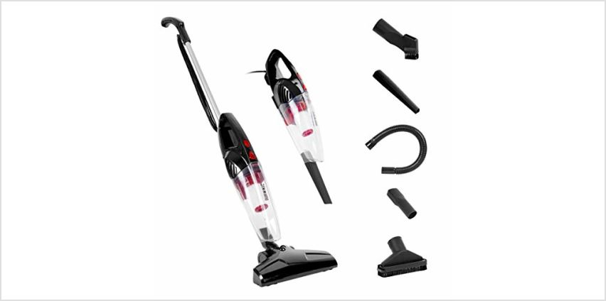 Duronic VC8/BK Stick Vacuum Cleaner | Energy Class A+ | HEPA Filter – Bagless | Black | 2-in-1: Converts from Upright Corded to Handheld Vac | Lightweight | Includes 4 attachments | brushes from Amazon