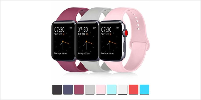 ATUP Strap Compatible with for Apple Watch Strap 38mm 42mm 40mm 44mm, Soft Silicone Replacement Straps Compatible with for iWatch Series 4, 3, 2, 1 (38mm/40mm-S/M, 3-Pack Wine red+Grey+Pink) from Amazon