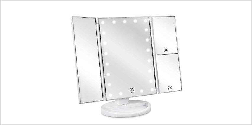 deweisn Tri-Fold Lighted Vanity Mirror with 21 LED Lights, Touch Screen and 3X/2X/1X Magnification Mirror, Two power Supply Mode Tabletop Makeup mirror,Travel Cosmetic Mirror(Gold) from Amazon