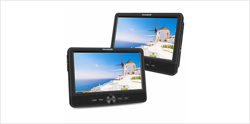 FANGOR 7.5'' Dual Car DVD Player, Headrest Video Player with Two Screens, Supported USB/SD/MMC Card Readers, Last Memory and Regions Free from Amazon