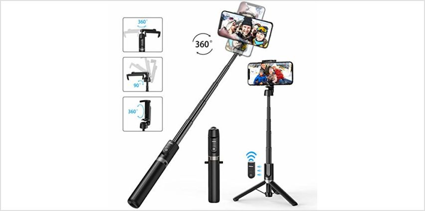 Mpow Selfie Stick Bluetooth, ALL in 1 Extendable Selfie Stick Tripod Monopod for iPhone 11/11 Pro/XS Max/XS/XR/X/8/7 Galaxy S10/S9 and more/ Travel Mini Size, Sturdy Legs, Wireless Remote -Black from Amazon