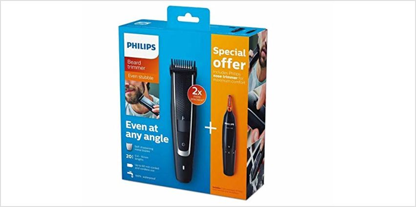 Save on Philips Series 5000 Beard and Stubble Trimmer with Series 1000 Nose, Ear and Eyebrow Trimmer - BT5503/83 and more from Amazon