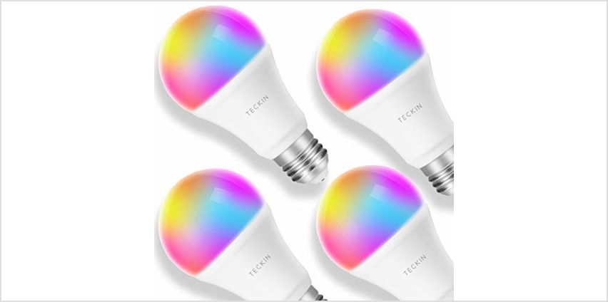 Smart Light Bulb LED WiFi Lamp E27 Dimmable and Multicolor Works with Phone, Google Home (No Hub Required), TECKIN A19 60W Equivalent RGB Bulb (8W), with Schedule Function, 4 Pack from Amazon