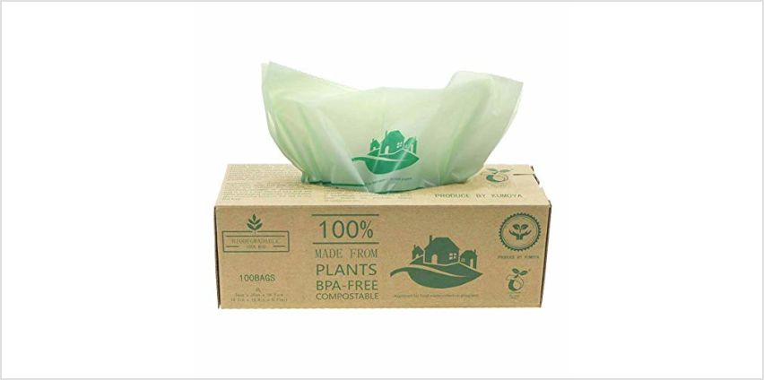 Kumoya Compostable Biobag Kitchen Caddy Liners 6L-30L Food Waste Bin Liners, 100 Bags from Amazon