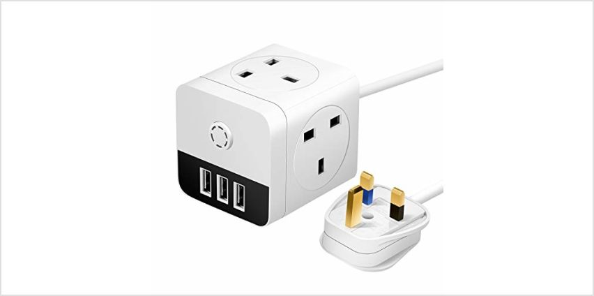 Mscien 2M Mini Cube Extension Lead with 3 USB, 4 Way Switched UK Sockets 13Amp Power Extension Cord, Black&White from Amazon