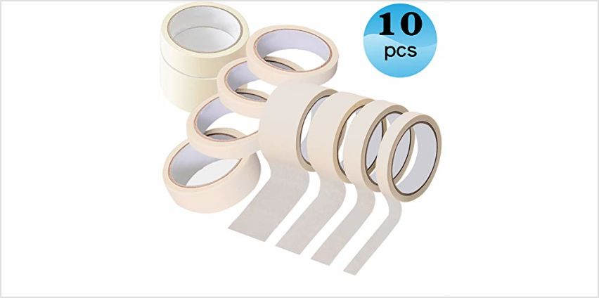Masking-Tape-for-Painting Painters Tape 10 Pack 50mm × 20m,30mm × 20m,20mm × 20m,10mm × 20m from Amazon