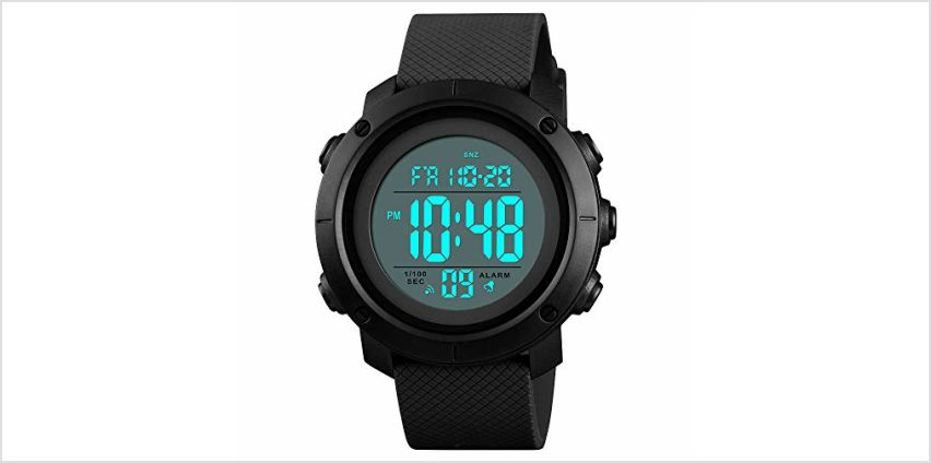 Men's Sports Watches Digital LED Screen Large Face Backlight Military Waterproof Black Watch Birthday Gift for Boys Girls from Amazon