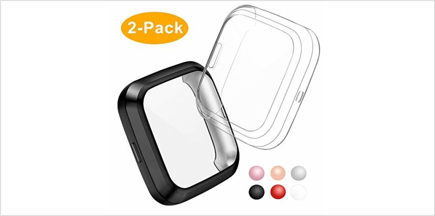 CAVN Compatible with Fitbit Versa 2 Screen Protector, 2 Packs TPU Plated Versa 2 Screen Protector Case Rugged Cover Full-Cover Scratch-Proof Protective Bumper Shell Case for Fitbit Versa 2 Smartwatch from Amazon