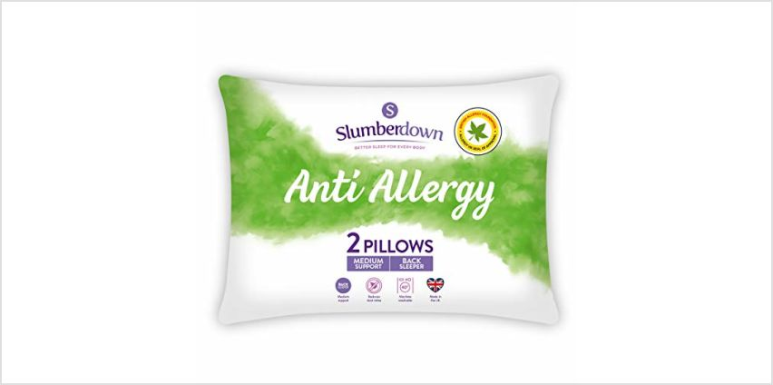 Save on Slumberdown Anti Allergy Pillows, Medium Support, Designed for Back Sleepers, Pack of 2 and more from Amazon