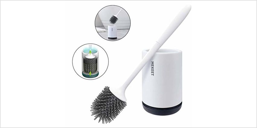 MEKEET Silicone Toilet Brush and Holder,Bathroom Toilet Brush Holder Set,Silicone Toilet Cleaning Brush Kit with Soft Bristle Brush from Amazon