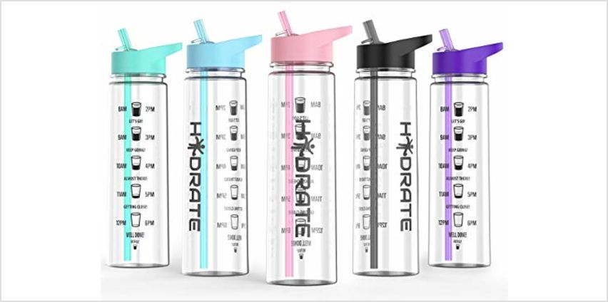 HYDRATE Motivational 900ml Straw Water Bottle – with Time Markings, BPA-Free from Amazon