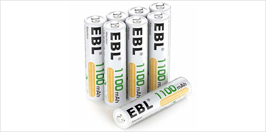 EBL AA Rechargeable Batteries 2800mAh, 8 Pack High Performance 1200 Cycle Ni-MH Batteries from Amazon