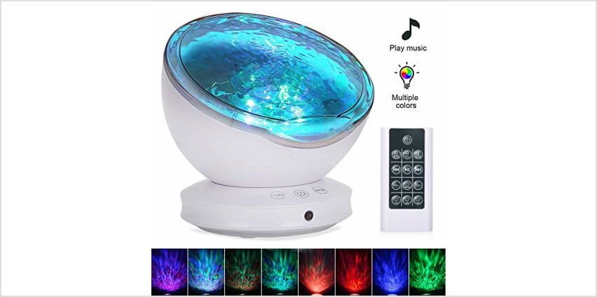 [Upgraded]Ocean Projector Lamp Night Light+Remote Control+Timer, Bedside Child Lights Baby Gifts with 8 Color Modes+6 Music Sounds+Angle Adjustment for Party Decoration from Amazon