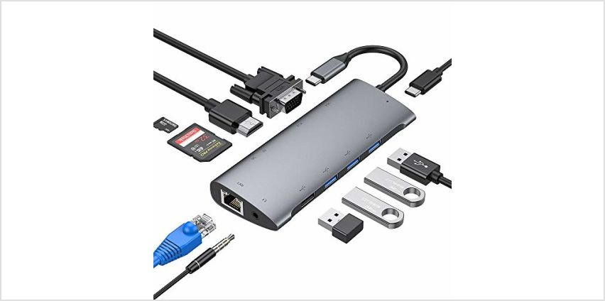 USB C Hub, Aluminum Type C Hub Adapter Compatible with MacBook Pro, USB-C Power Delivery, 4K HDMI, 1080P VGA, RJ45 Gigabit Ethernet, SD/TF Card Reader, USB 3.0/2.0, 3.5mm Audio Jacket (Space grey) from Amazon