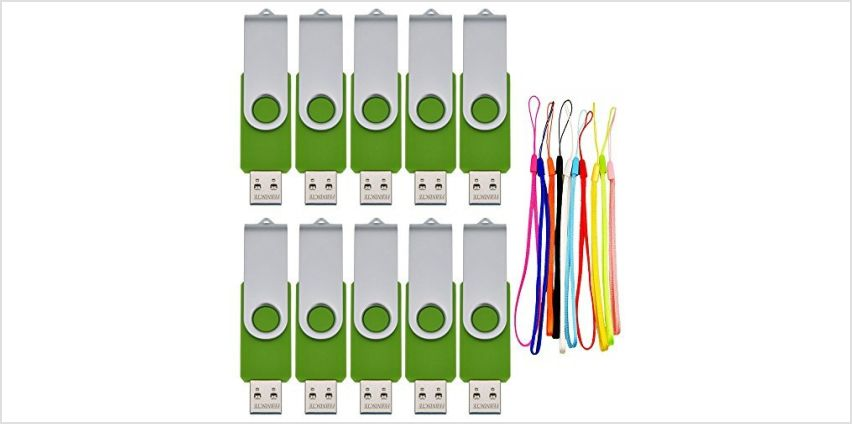 USB 2.0 Flash Drive 8GB 10 Pack Memory Sticks - Portable Bulk Multi Pack Pendrives Green Data Storage - 8 GB USB Stick Swivel Pen Drive Zip Drive with 10pcs Lanyards by FEBNISCTE from Amazon