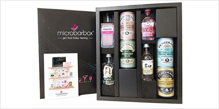 MicroBarBox Pink Gin Gift Set including Gordons Pink Gin, Edinburgh Rhubarb & Ginger Gin, Pinkster & Anno Kent Dry Gin | Presented in a Beautiful Gift Box with Fentimans Artisan Mixers from Amazon