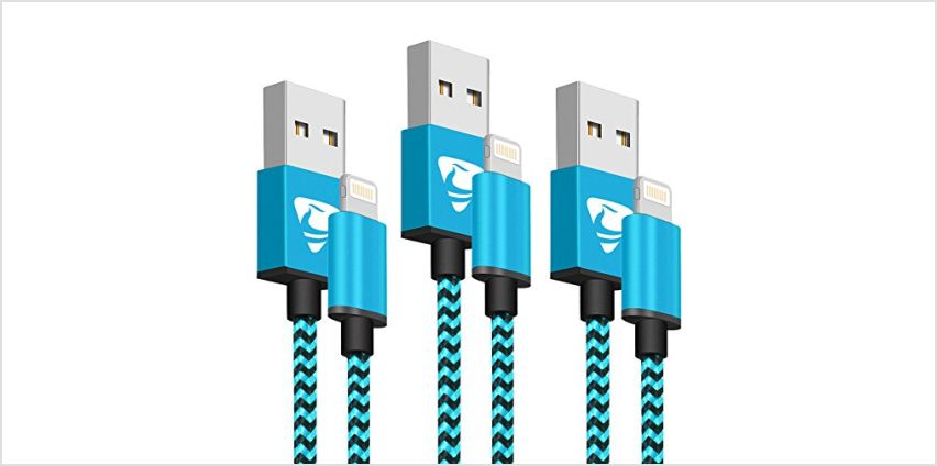 iPhone Charger Cable Aioneus Lightning Cable 2M/6FT-3Pack Fast iPhone Charger Nylon Braided iPhone Charging Cable for iPhone 11 Pro/11 Pro Max/Xr/Xs/8/7/6/6 Plus/ 6s/5 and More(Blue) from Amazon