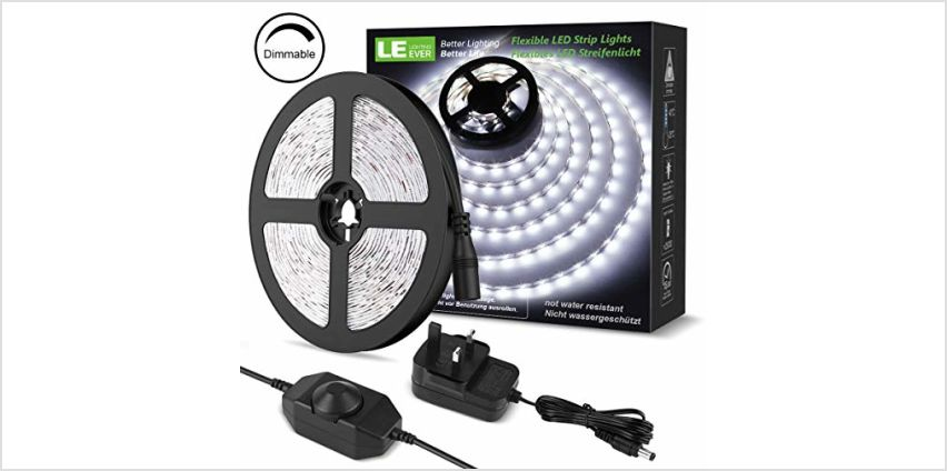 LE 5M LED Strips Lights with Power Supply, 2835 LED Tape Light from Amazon
