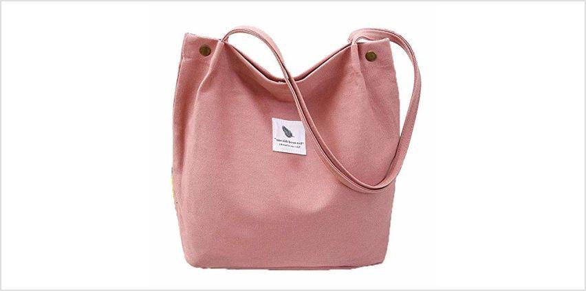Yidarton Ladies Canvas Bag Shoulder Bag Shopper Tote Bag Casual Handbag Large Chic Bags(pk) from Amazon