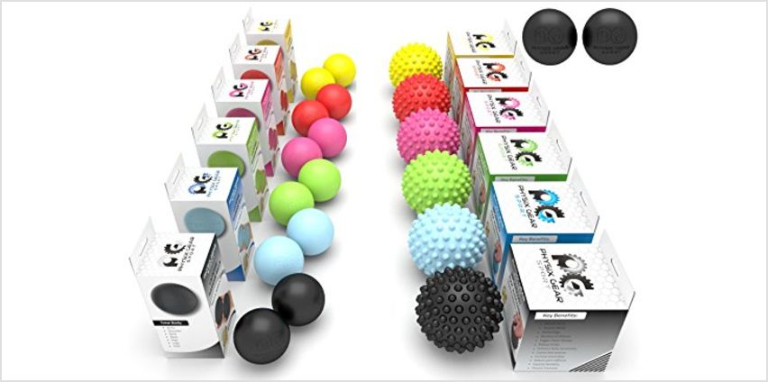 Physix Gear Massage Balls - Spiky or Lacrosse Ball Roller Set for Plantar Fasciitis, Trigger Points Neck & Back Pain Relief - Deep Tissue Rehab Reflexology & Acupressure - Compact Portable Therapist from Amazon