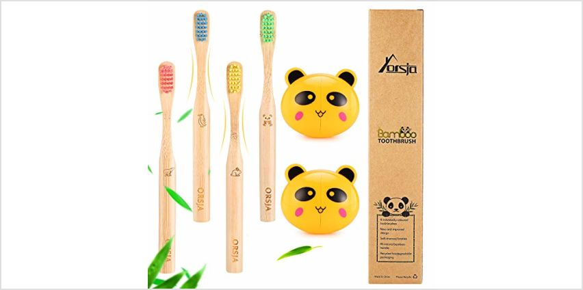 Bamboo Toothbrushes - Kids Toothbrushes, Soft Bristle Toothbrush, Biodegradable and Eco Friendly, Pack of 4 … from Amazon