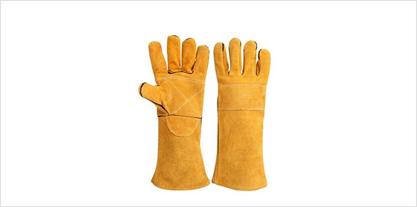 Cotton Lined And Kevlar Stitching Welders Gauntlets Riggers Wood Burners Accessories Gloves Heat Resistant Stove Fire And Barbecue Gloves Long Length Cuffs 400mm(HCT09) from Amazon