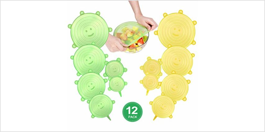 CISHANJIA Silicone Stretch Lids,12 Pack of Silicone Lids Food Covers, BPA Free and Reusable to Fit Various Sizes & Shapes of Containers, Dishes, Bowls, Safe in Dishwasher, Microwave and Freezer from Amazon
