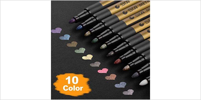 Premium Metallic Marker Pens, DealKits Set of 10 Assorted Colors Paint Pen for Scrapbooking Crafts, DIY Photo Album, Art Rock Painting, Card Making, Metal and Ceramics, Glass - Medium Bullet Tip from Amazon