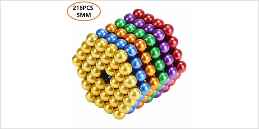 UiDor Magic Building Ball Toys with 216pcs and 5mm,Creative 3D Puzzle.Educational Building Toy for Intelligence Development, Anxiety and Stress Relief. Ideal for Office or Home (6 Colors) from Amazon
