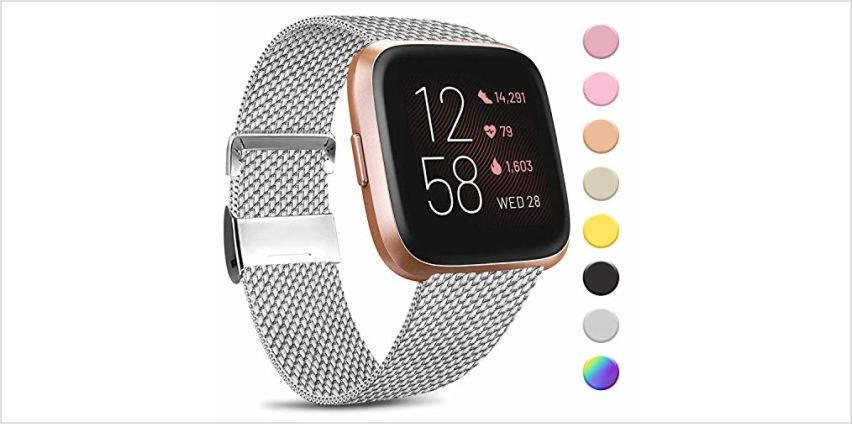 Amzpas Compatible with Fitbit Versa Strap/Fitbit Versa 2 Strap, Metal Stainless Steel Bands Quick Release Replacement Wriststrap with Unique Magnet Lock for Fitbit Versa (02 Rose Pink, S) from Amazon