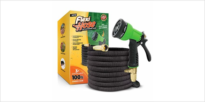 """Flexi Hose Upgraded Expandable Garden Hose, Extra Strength, 3/4"""" Solid Brass Fittings - The Ultimate No-Kink Flexible Water Hose, 8 Function Spray Included from Amazon"""