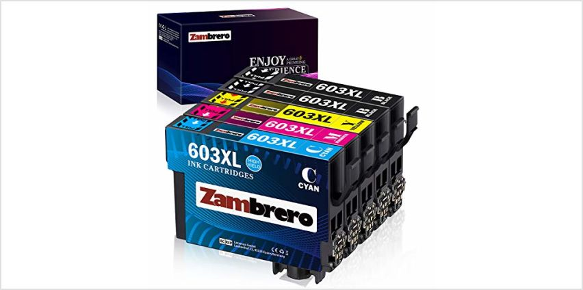 Zambrero 603XL Ink Cartridges Replacement for Epson 603 XL Ink for Use with Epson Expression Home XP-3100 XP-4100 XP-2100 XP-2105 XP-3105 XP-4105, Epson Workforce WF-2810 WF-2830 WF-2835 WF-2850 from Amazon