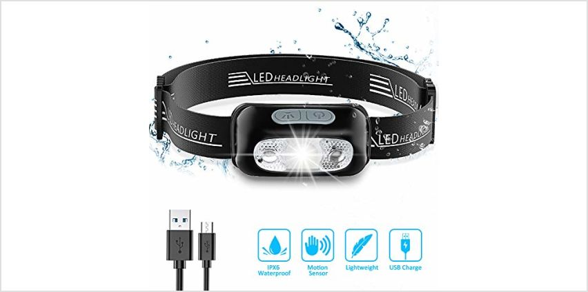 Babacom Head Torch, Rechargeable Super Bright LED Headlamp - 160 Lumens, Motion Sensor, Waterproof IPX6, 4 Lighting Modes, Adjustable Angle & Strap, Led Head Torch for Running Hiking Fishing Hunting from Amazon