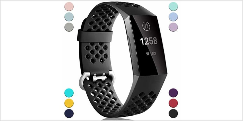 Dirrelo Compatible with Fitbit Charge 3/ Charge 4 Strap, Sport Silicone Adjustable Replacement with Breathable Holes Accessories Wristband for Fitbit Charge 3 SE, Small Large Women Men, Multi Colours from Amazon